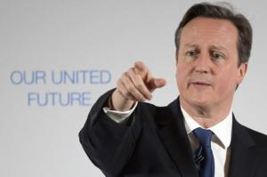 Britain's Prime Minister David Cameron delivers a speech  at Dynamic Earth in Edinburgh, Scotland