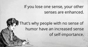no sense of humour increased self importance