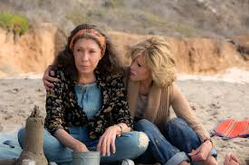 Grace and Frankie on beach