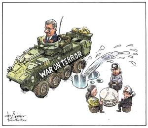 Harper editorial cartoon Jeep splashing natives