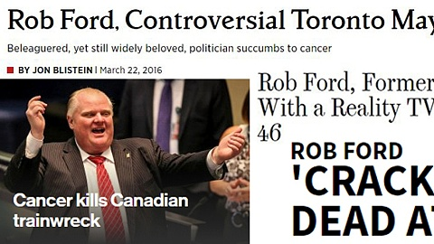 rob ford dead headlines