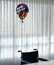 happy birthday balloon wheelchair
