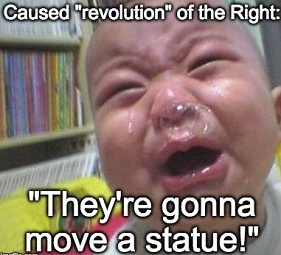 baby crying over statue removal
