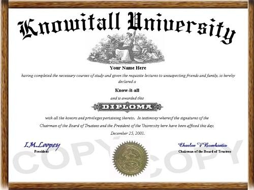 know it all diploma