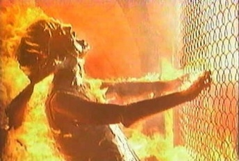 woman in flames