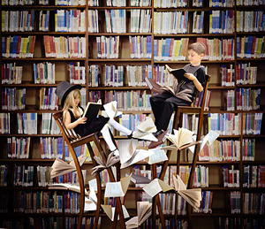 surrounded by books
