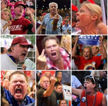 trump supports hate faces