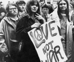 hippies love not war
