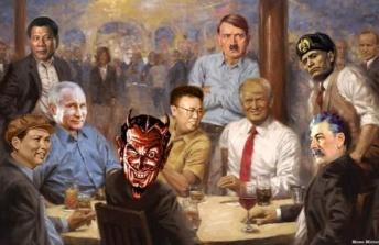 trump painting satan
