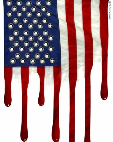 american flag in blood and bullets