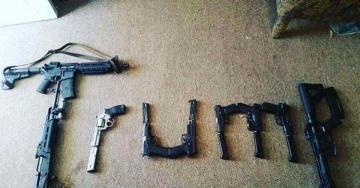 trump spelled in guns