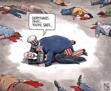 USA shelters NRA as dead lie bleeding